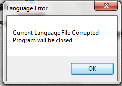 Сurrent language file Corrupted Program Will Be Closed
